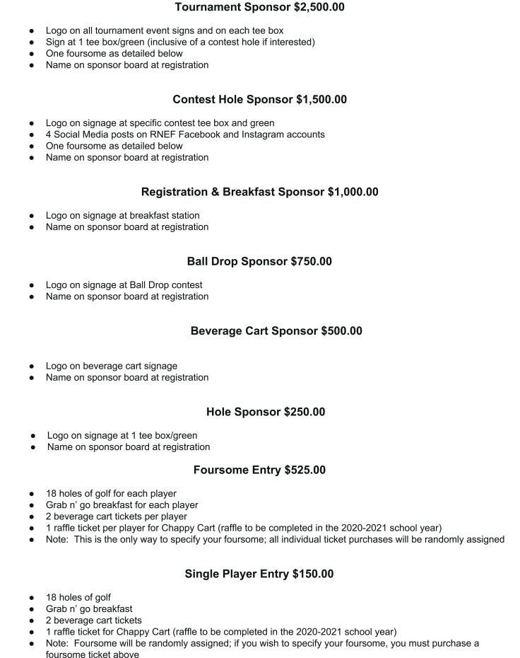 Foundation Flyer Page 2 Roswell North Golf Tournament July 2020